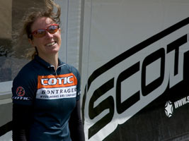 Kate Potter outside the Scott team tent at Eastnor
