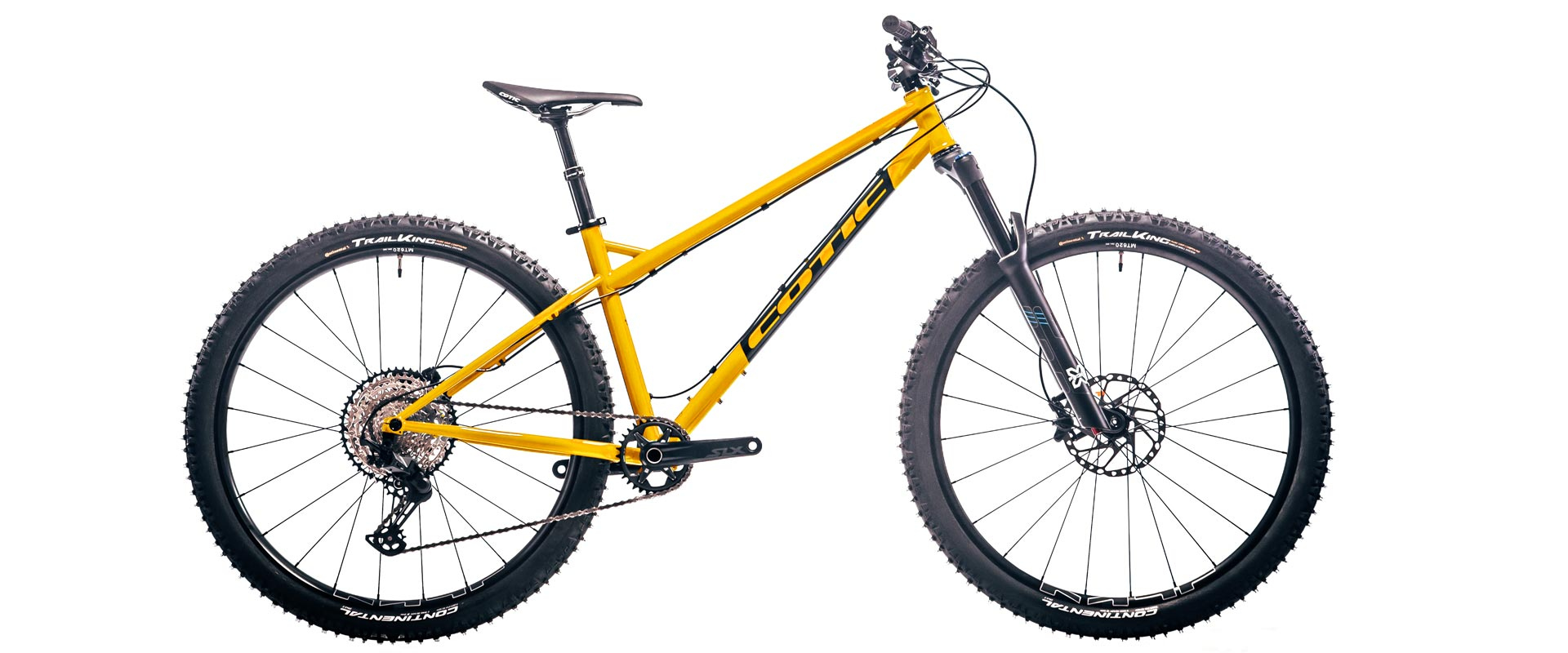 Cotic BFeMAX, sunny yellow, cotic steel full suspension, 853 downtube, steel mountain bike, steel is real, enduro mountain bike, 29 mountain bike, 160mm travel, progressive geometry mountain bike, british mountain bike, sheffield steel, reynolds 853, longer lower slacker, slack geometry, long geometry